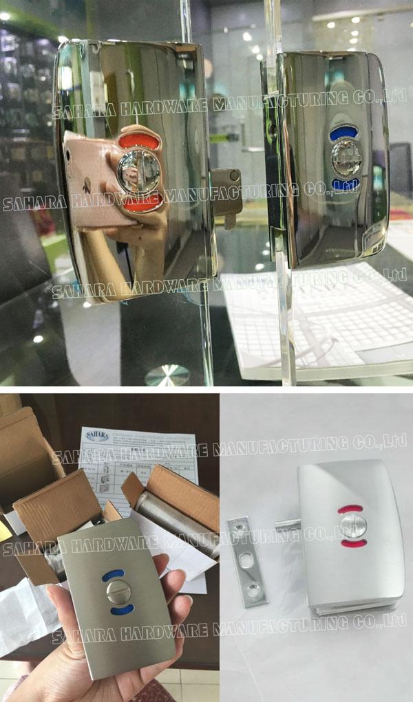 commercial glass door locks aluminum SAHARA Glass HARDWARE Brand bathroom glass door lock