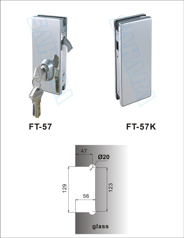 High Quality Stainless Steel Glass Door Lock Ft 57k Factory