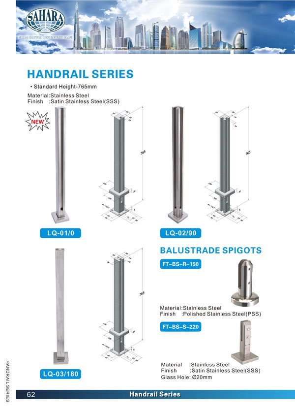 glass balustrade SAHARA Glass HARDWARE shower glass door hinges